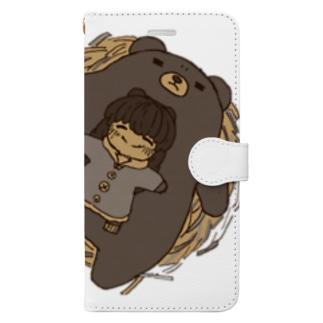 くまのおやこ Book-style smartphone case