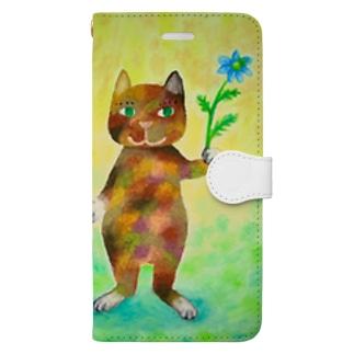 ニゲラとコケねこさん Book-style smartphone case