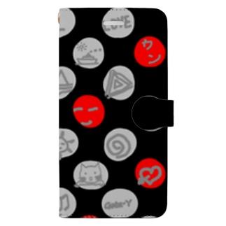水玉 落書き 黒赤 Book-style smartphone case