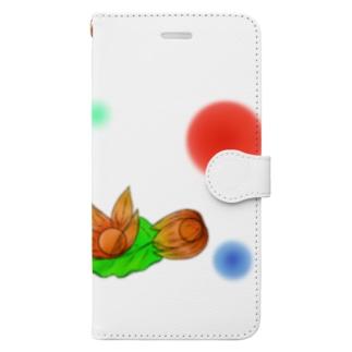 ホオズキ 水玉パターン Book-style smartphone case