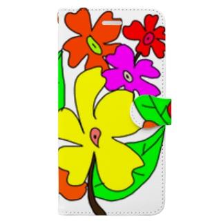 手書きのお花 Book-style smartphone case