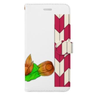 矢がすりフレーム 枝つきホオズキ Book style smartphone case