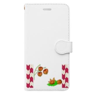 矢がすりフレーム 枝つきホオズキ その2 Book style smartphone case