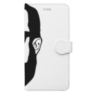aubergのShacho logo black Book-style smartphone case