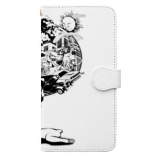 なまけものの夢 モノクロ Book-style smartphone case