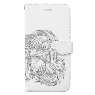 日本の美 葛飾北斎「群鶏」モノクロ版 Book-style smartphone case