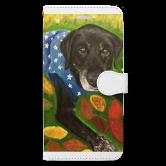 DOGLABの黒ラブシニアぽんた君 Book-style smartphone case