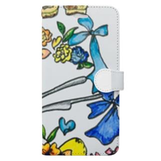 フラワーアートディッシ Book-style smartphone case