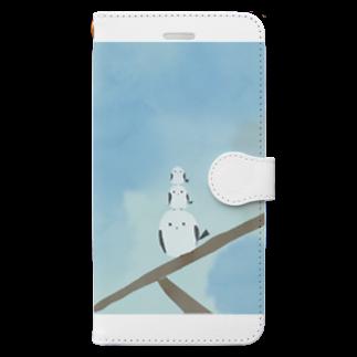 かな工房の連なるシマエナガさん Book-style smartphone case