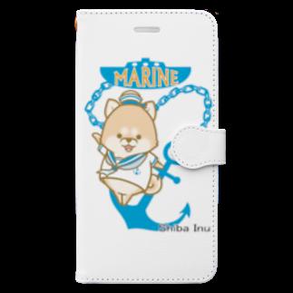 ラクガキメイトの柴犬 マリンルック Book-style smartphone case