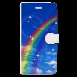 黒い天使の幸運の虹 Book-style smartphone case