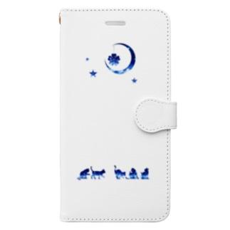 夜空柄の猫 Book-style smartphone case
