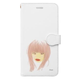口紅が目立つ女 Book-style smartphone case