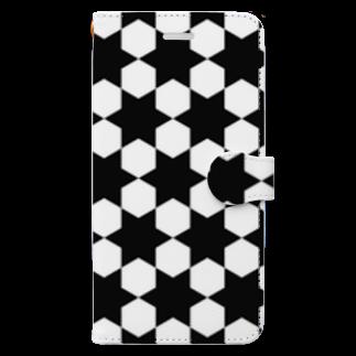 まりもの白黒模様スマホケース手帳型 Book-style smartphone case