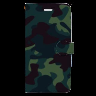 みや猫の迷彩柄(ブルー) Book-style smartphone case