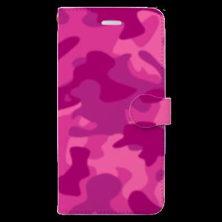 みや猫の迷彩柄(ピンク) Book-style smartphone case