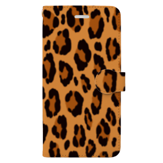 みや猫のヒョウ柄(ブラウン) Book-style smartphone case