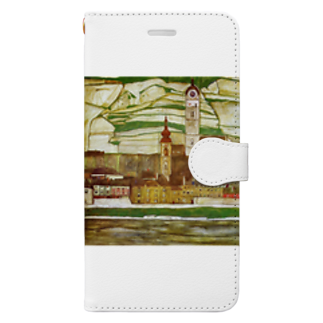 Art Baseのエゴン・シーレ / 1913 /Stein on the Danube, Seen from the South / Egon Schiele Book-style smartphone case