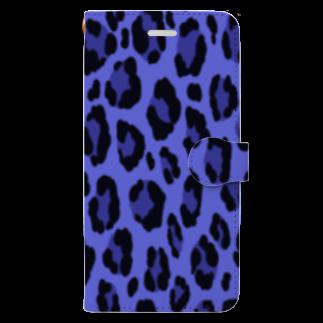 みや猫のヒョウ柄(ブルー) Book-style smartphone case