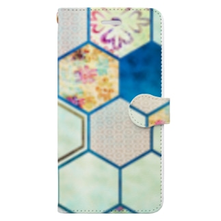 和柄の大理石 シリーズ Book-style smartphone case