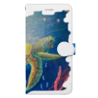 マッタリとした亀 Book-style smartphone case