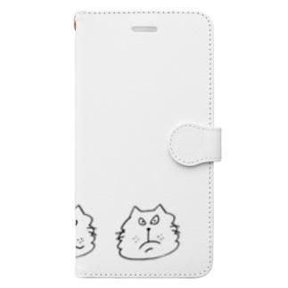 にらめっこ しろ Book-style smartphone case