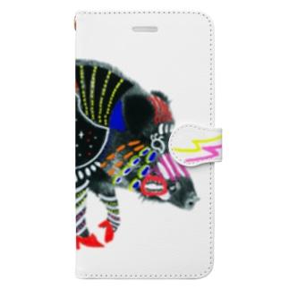 腹ペコ猪、腹宇宙 Book-style smartphone case