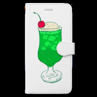 NIKORASU GOのメロンクリームソーダ@文字なし Book-style smartphone case