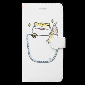のほほん日和のレオパのくーちゃん(inポッケ) Book-style smartphone case