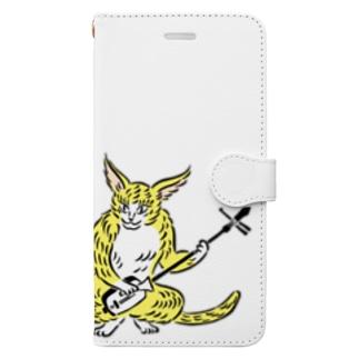 大津絵・猫に三味線 Book-style smartphone case
