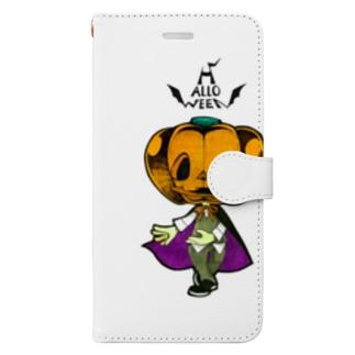 ハロウィンのかぼちゃくん。 Book-style smartphone case