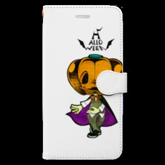 烏丸斗樹のハロウィンのかぼちゃくん。 Book-style smartphone case