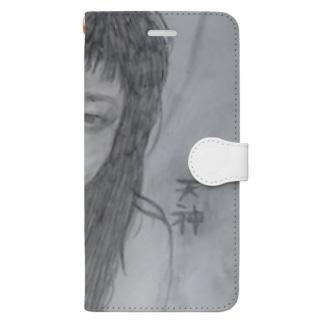 天神髪ボサ Book-style smartphone case