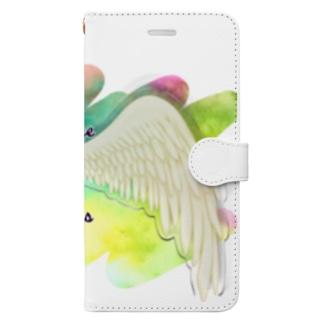 勇気を翼に★天使の羽★癒しカラー Book-style smartphone case