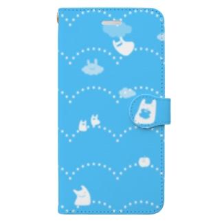 そらとぶうさぎ パキッと青 Book-style smartphone case