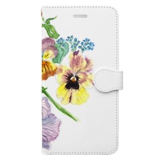 ヴィオラ、パンジー、勿忘草 Book-style smartphone case