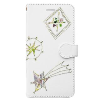 宵の空に輝く星のブローチ Book-style smartphone case