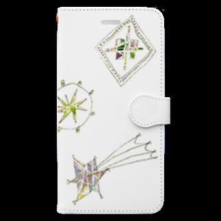 砂まみれの宵の空に輝く星のブローチ Book-style smartphone case
