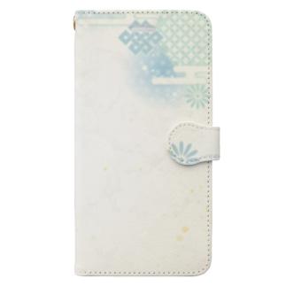 和柄(青紫陽花) Book-style smartphone case