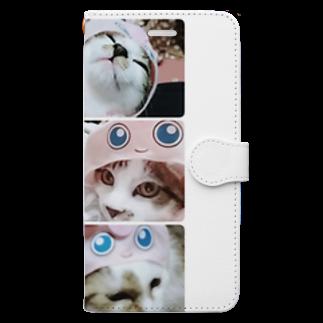 愛猫ちゃん達の毎日の猫ちゃんの被り物 Book-style smartphone case