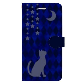 やなぎの気まぐれの月と猫【青】 Book-style smartphone case