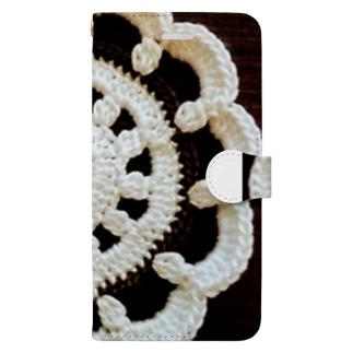 白黒ドイリー Book-style smartphone case