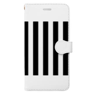 モノトーンストライプ Book-style smartphone case