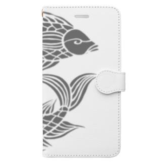 沖縄の風♪ 壷屋焼風双魚文(濃) Book style smartphone case
