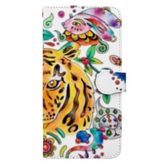 カラフル虎(ズーム) Book-style smartphone case
