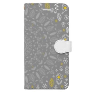 北欧風の花柄 Book-style smartphone case