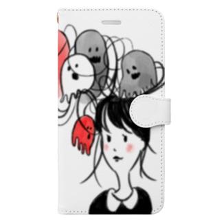 髪の毛おばけガール Book-style smartphone case