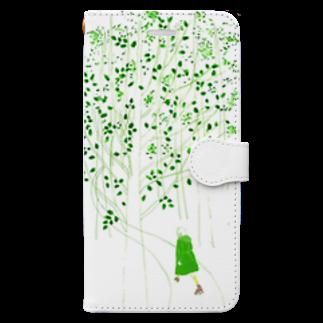 砂まみれの森でローラースケート Book-style smartphone case