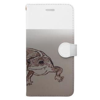 手書き ニシアフリカトカゲモドキのたこやき Book-style smartphone case