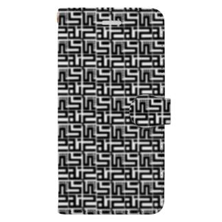 むらっさんロゴスマフォケース 黒 手帳型 Book-style smartphone case